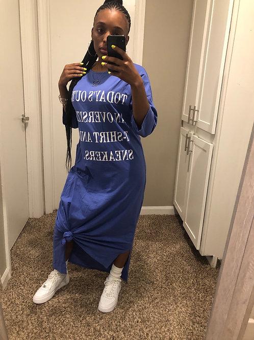 Copy of Oversized Tee Dress : BLUE