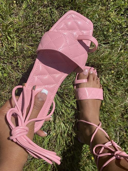 Nala Tie Up Sandals- Pink