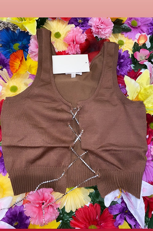 Diamonds Criss Cross Crop- Mocha