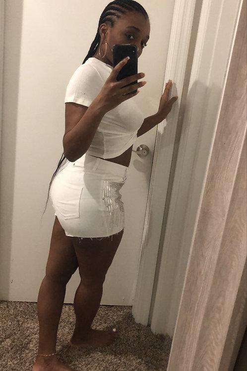 Diamonds Shorts : WHITE