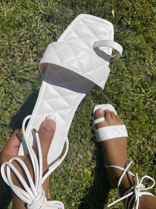 Nala Tie Up Sandals- White