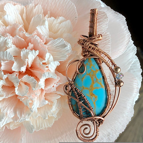 Turquoise with copper weins