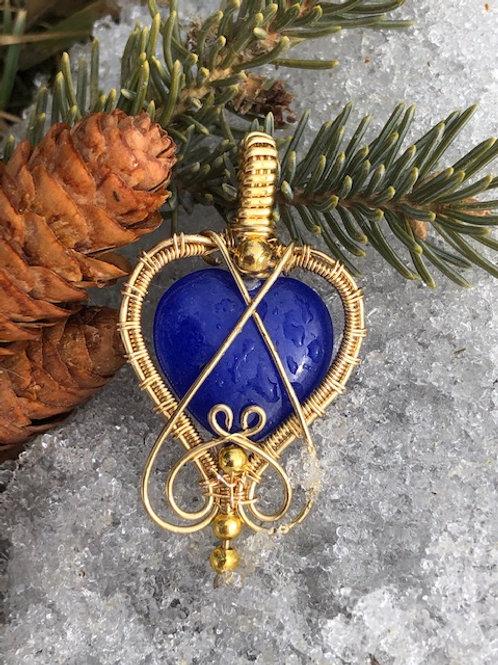 Blue Malay Jade Heart