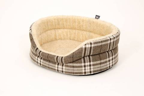 Round Checked Dog Bed