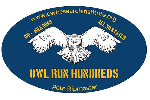 OWL RUN HUNDREDS OVAL STICKER