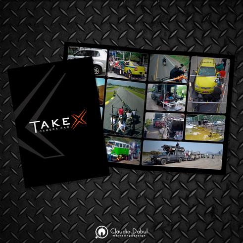 Criação e diagramação de portifólio impresso para a produtora Take X Camera Car.