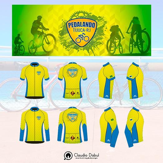 Design do uniforme do grupo de ciclismo Pedalando Tijuca.