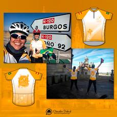 Design do uniforme do grupo de ciclismo Bicigrinas de Compostela.