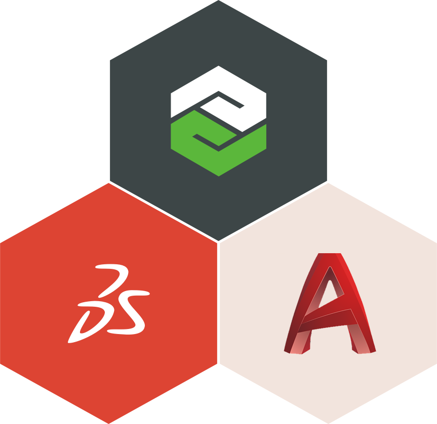 logos for Solidworks, ProE, and AutoDesk