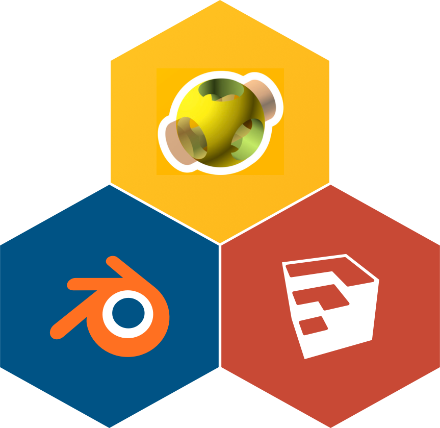 the logos for Google SketchUp, Blender, and OpenSCAD
