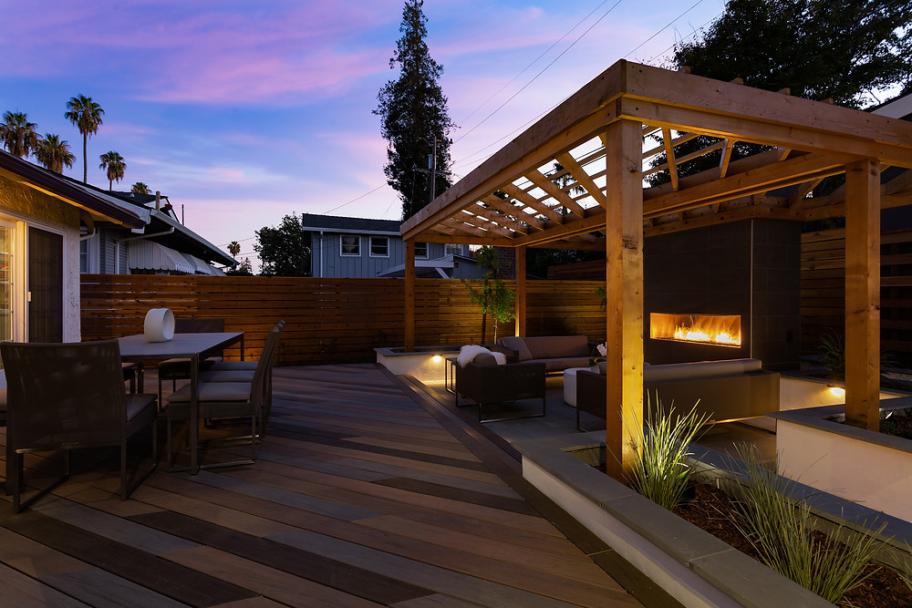 San Jose landscape design pergola deck fireplace