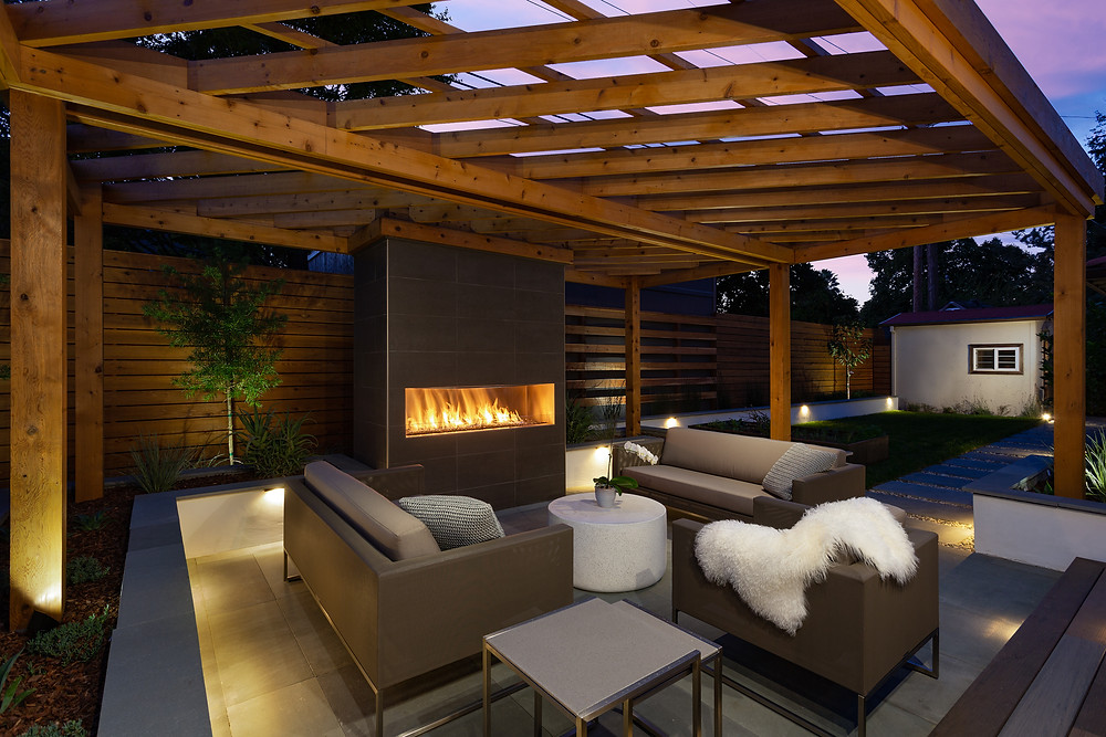 San Jose landscape design fireplace pergola