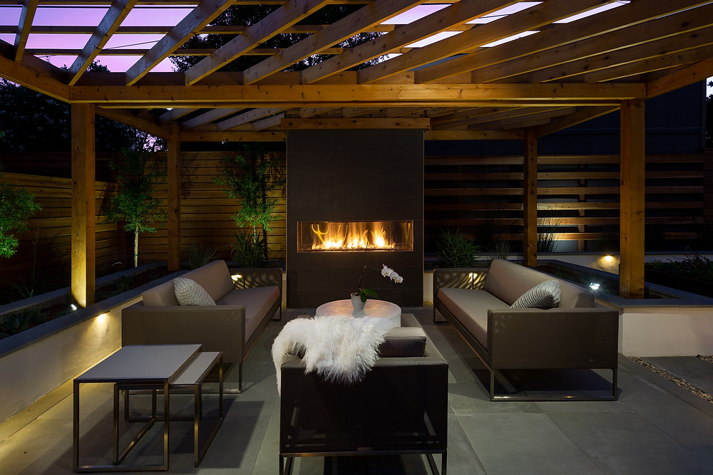 San Jose landscape design fireplace pergola outdoor lighting