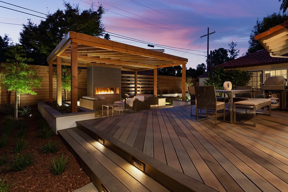 Modern pergola and landscape design in San Jose, California.