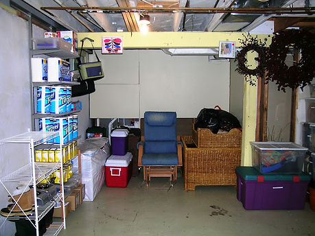 Basement storage after working with a professional organizer