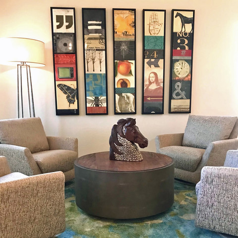 Whimsy is simply underrated. These quirky vintage collage panels and area rug add color and personality to this room.