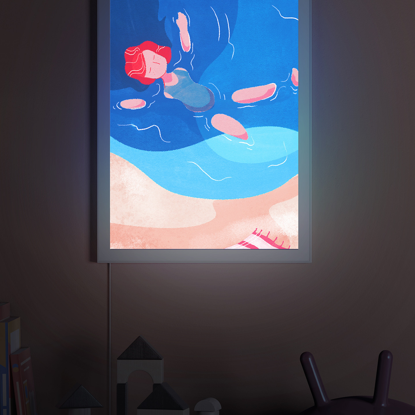 Girl swimming - Backlit wall art for nursery