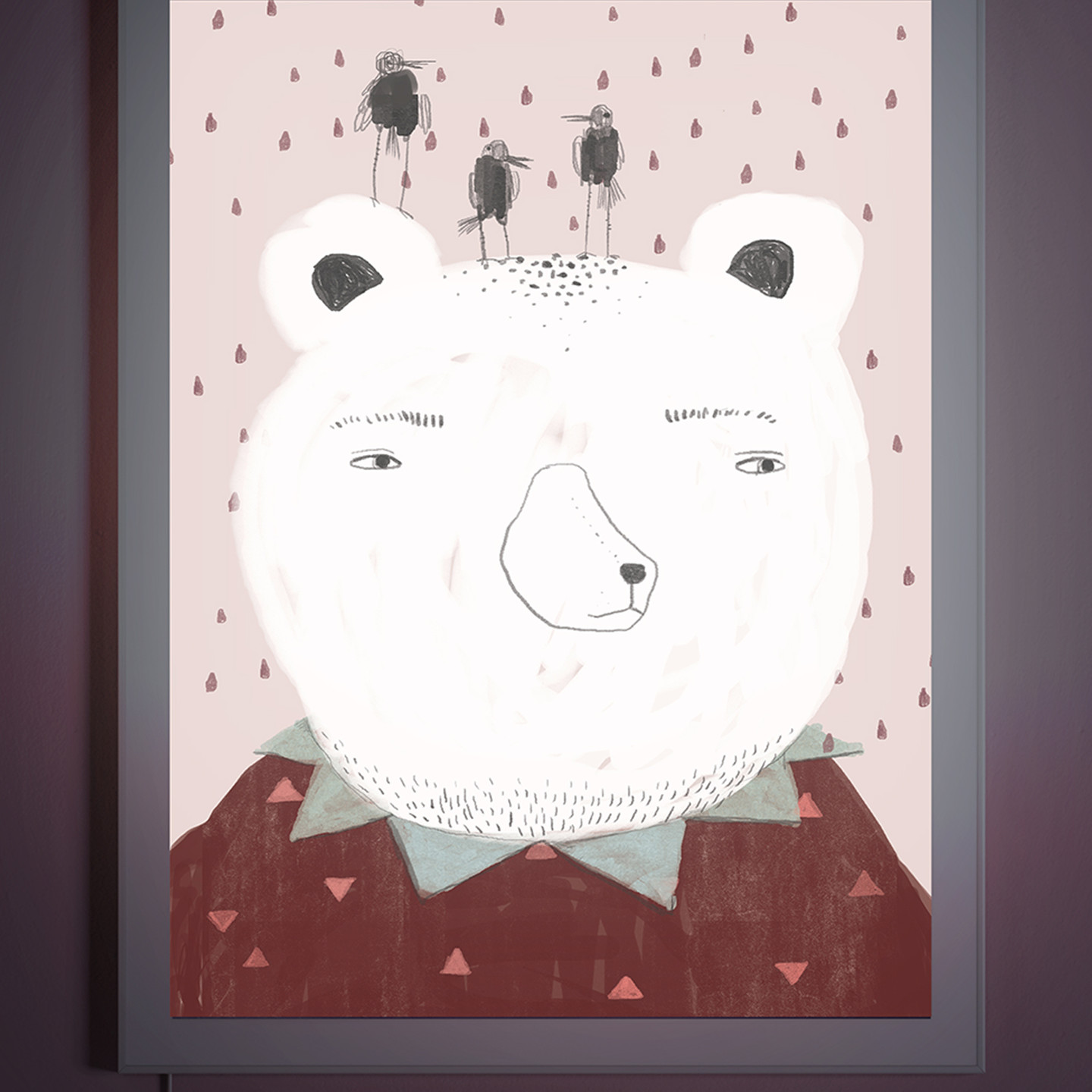 Suspicious Bear - Backlit wall art for nursery