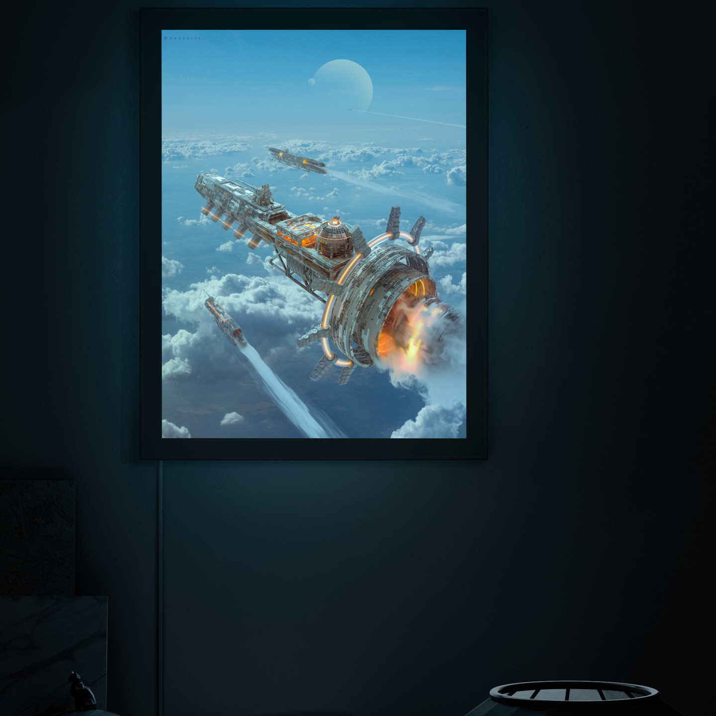 Atmos by Darius Baka showing a starship in a back-lit frame