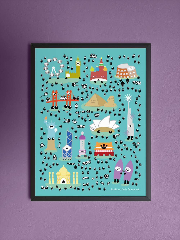 Illustration of landmarks from around the world for kids room
