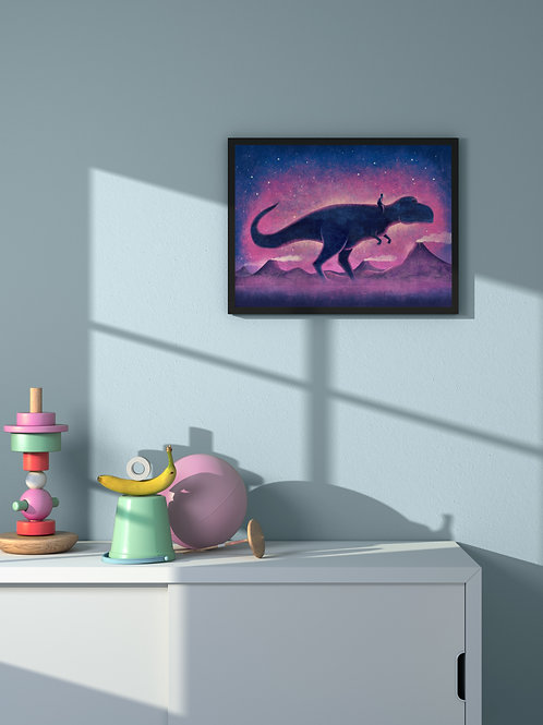 Human Figure with T-Rex | Framed Poster