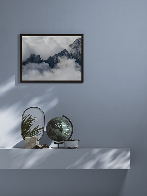 Cloudy Cascade Peaks | Framed Poster