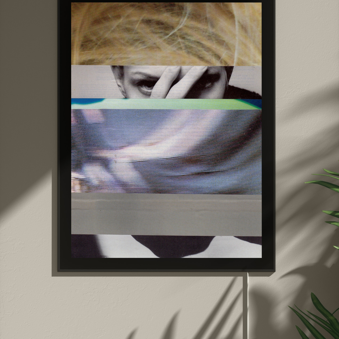 Untitled by Takuro Kishibe showing paper collage in backlit frame