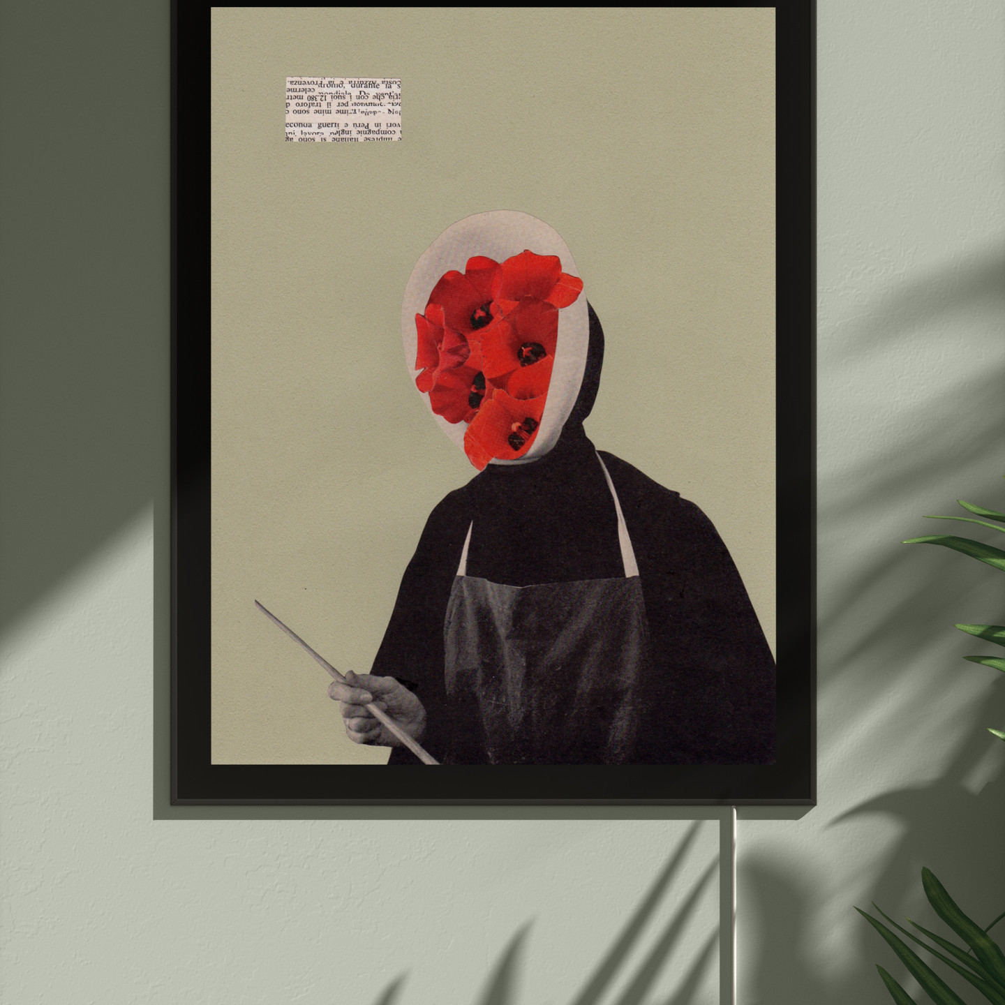 Untitled by Takuro Kishibe showing framed paper collage of human figure with red flowers