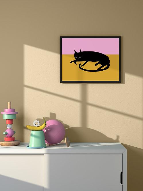 Sleepy Cat | Framed Poster