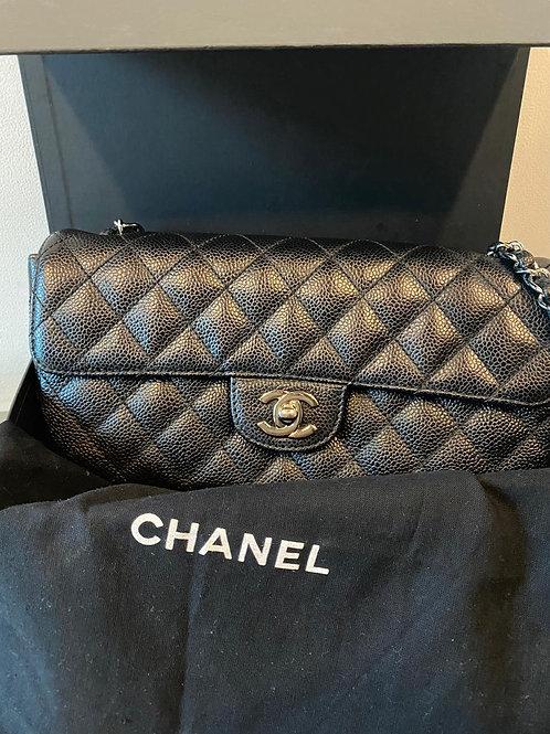 Chanel East West Timeless Black Caviar Leather Shoulder Bag