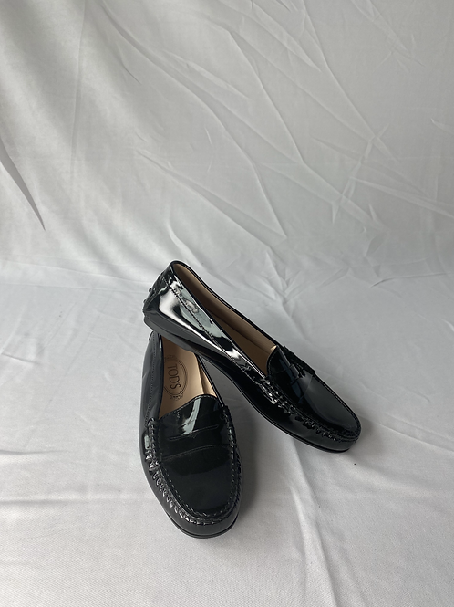 Tods Black Box New Patent Leather Driving Loafer