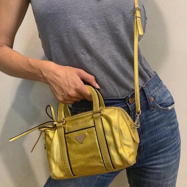 Prada Gold Leather Crossbody