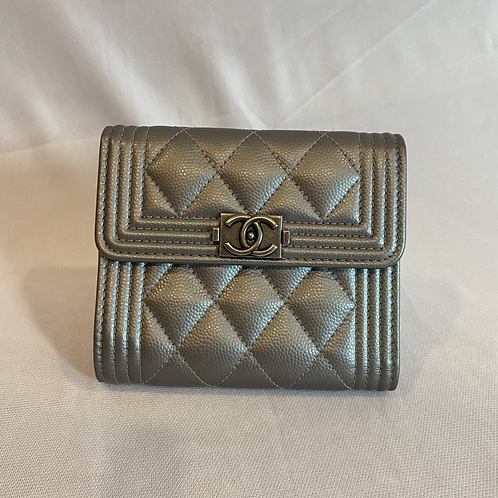 Silver Grey Classic Chanel Wallet