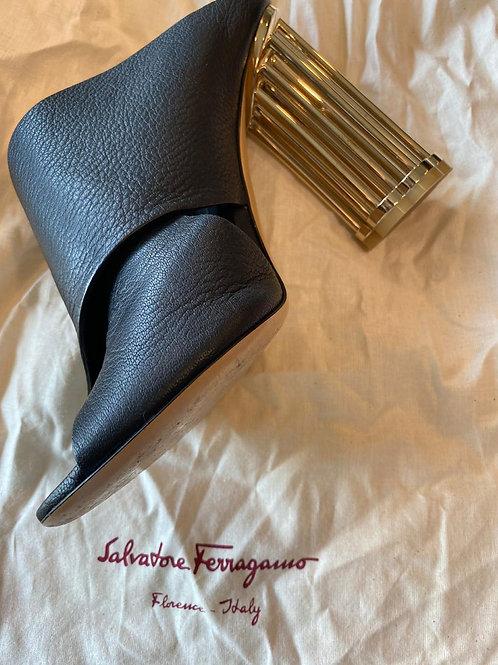 Ferragamo Leather Gold Heels