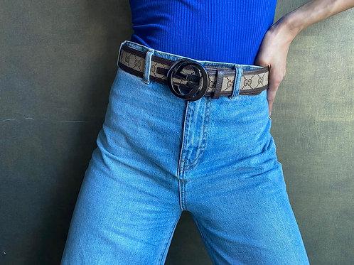 Gucci Brown Logo GG Monogram Belt