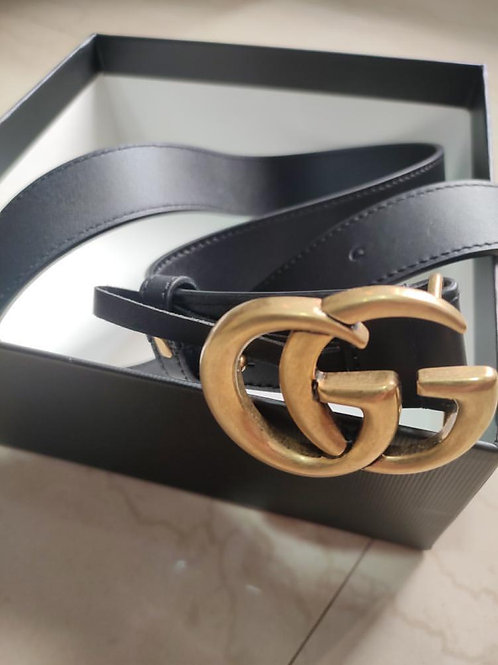 Gucci Black Gold Buckle Marmont Leather Belt