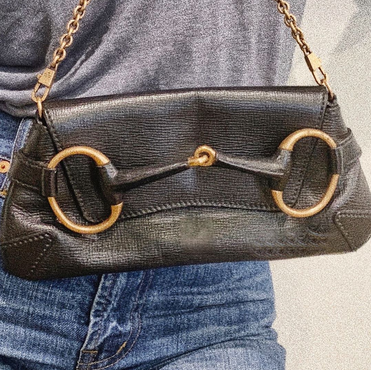 Gucci Horse Bit Black Leather Large Clutch