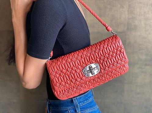 Miu Miu Orange Leather Crystal Nappa Bag