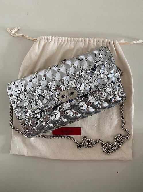 Valentino Silver Plexi Floral Bag