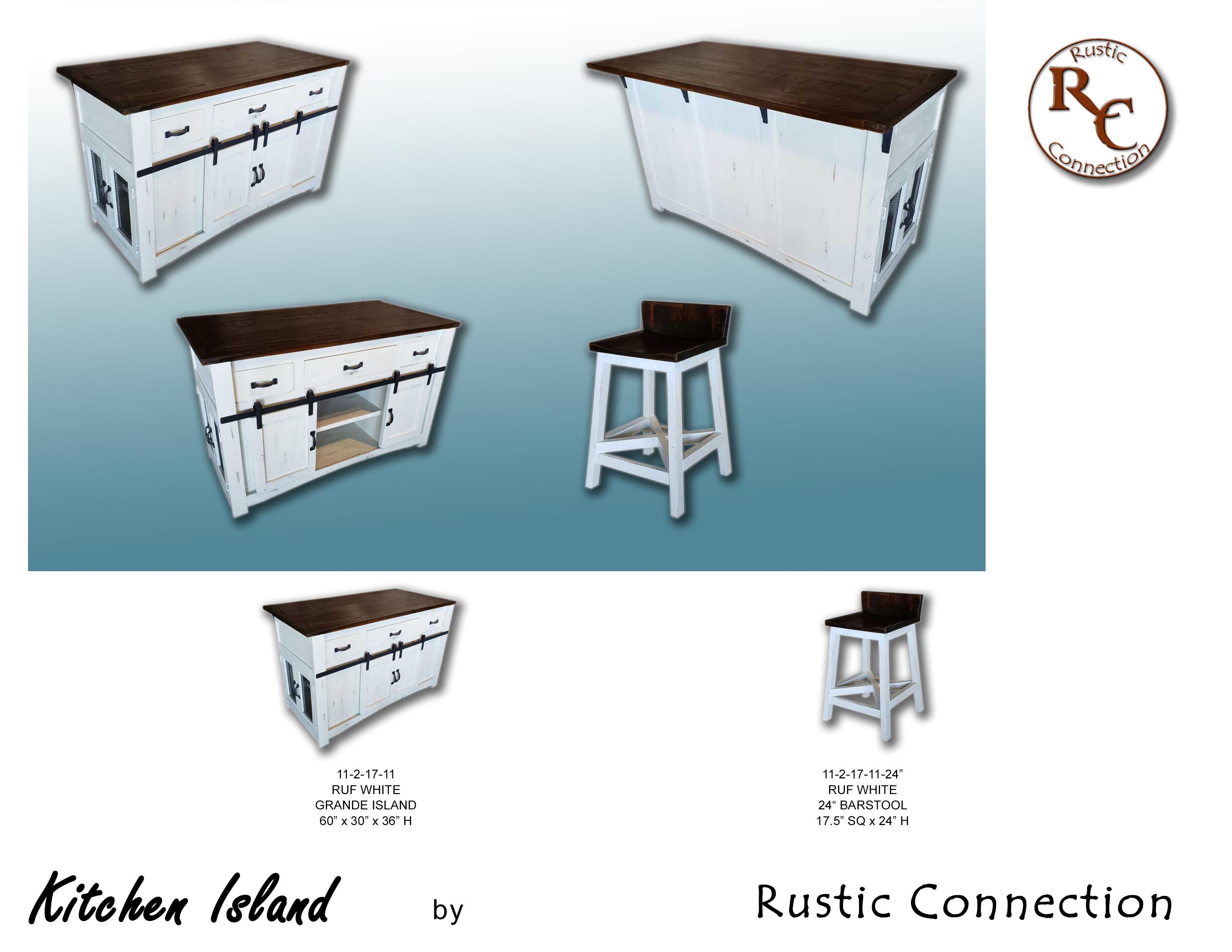 54-Ruf White Kitchen Island
