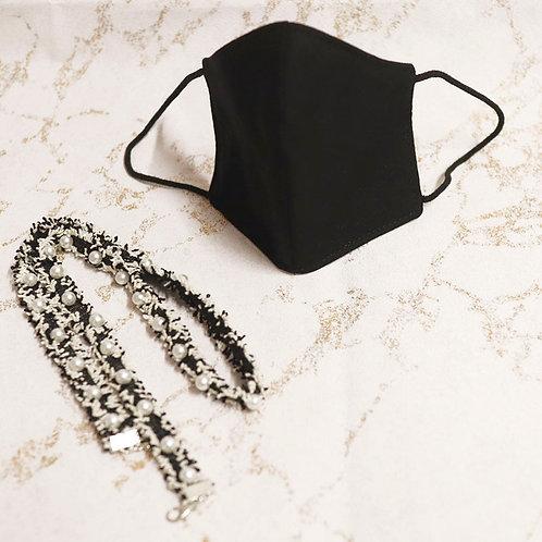 PACK Mascarilla negra homologada + Cadena perlas