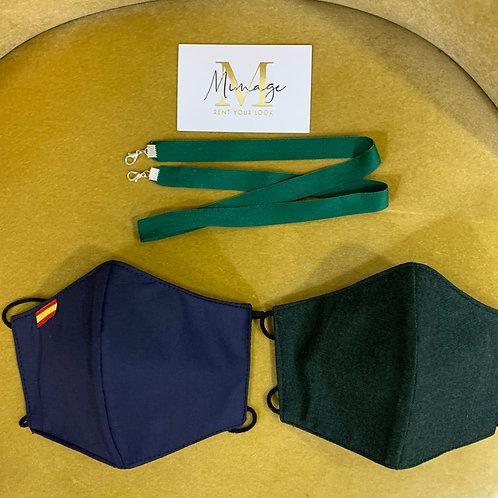 PACK Mascarillas HOMOLOGADO azul y verde + Cadena