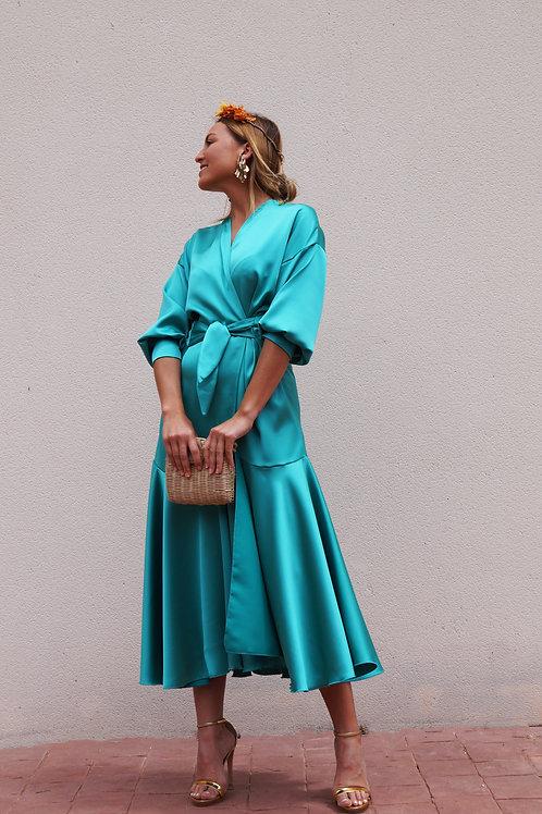 Vestido Kimono Multi Turquesa