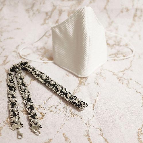 PACK Mascarilla piqué + Cadena perlas para mascarilla y gafas