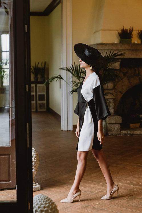Vestido Kimono Mix negro y blanco
