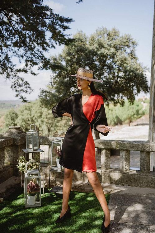 Vestido Kimono Mix negro y teja