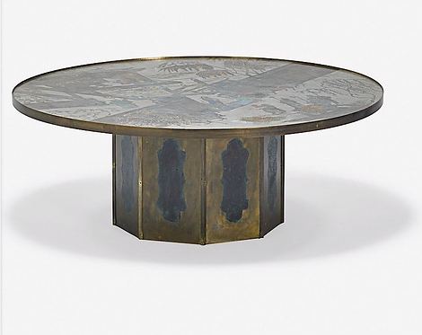 """Patinated Brass """"Chan"""" Coffee Table by Philippe and Kelvin Laverne, c1960"""