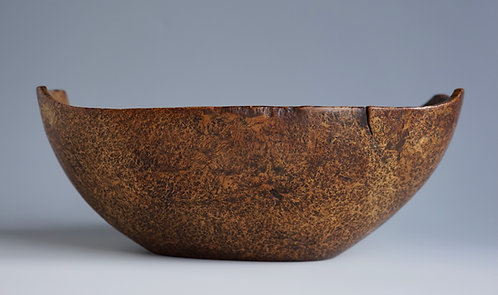 A mid-19th C or earlier Great Lakes Burl Bowl, burled ash, steel, copper rivets