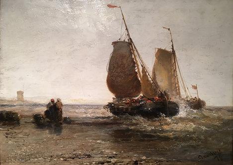 JAMES WEBB (British, 1835-1895) Scheveningen Beach, Holland, 1879