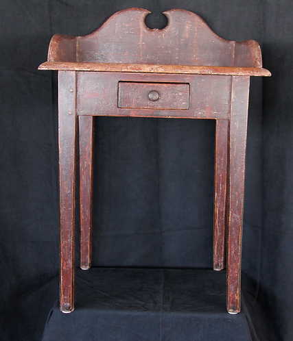 A 19thc French Canadian lave main / wash stand with drawer & original paint